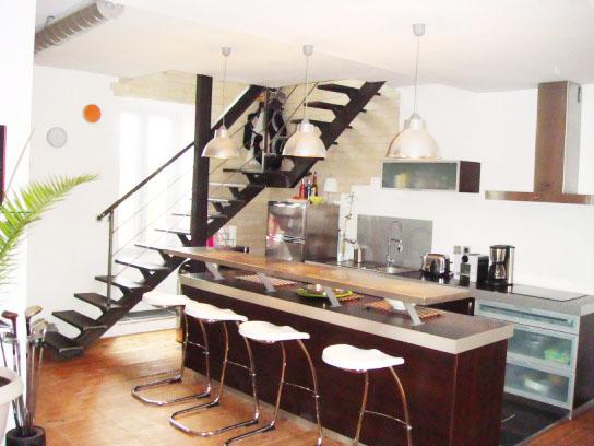 Création, aménagement et décoration d'un espace ouvert dans un appartement duplex